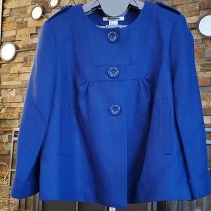 Cobalt blue 3/4 sleeve swing jacket
